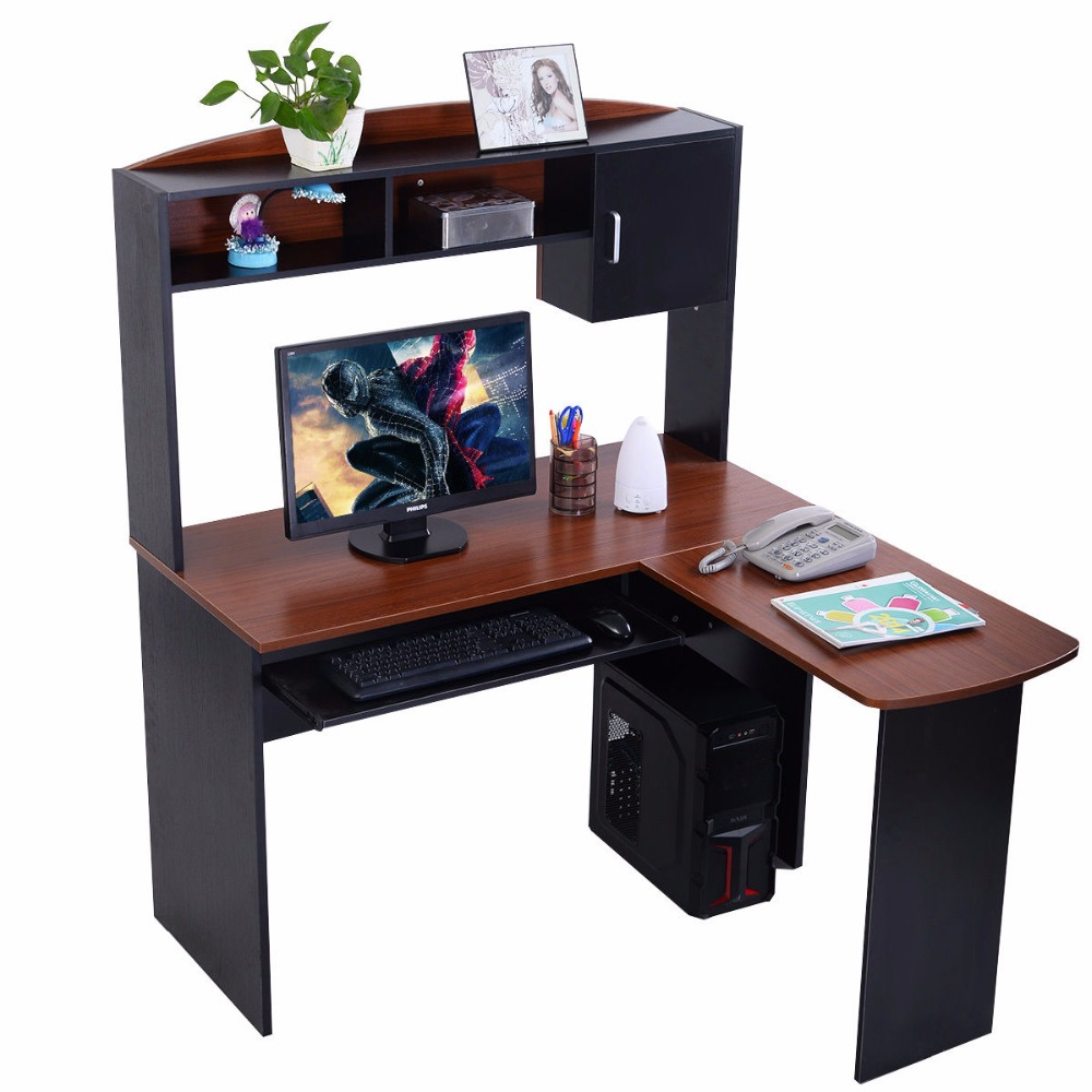 Goplus Office Furniture Corner Computer Desk L-Shaped Workstation Home Office Student Writing Table HW51723 selling bamboo flower wood simple desk computer desk small tea table outdoor leisure corner table furniture office table