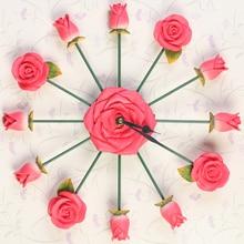 3D Rose Clock Saat Wall Clock Reloj Duvar Saati Horloge Murale Digital Wall Clocks Klok Relogio