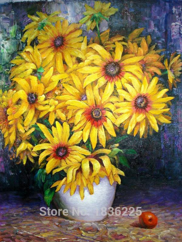 Home Decor Modern Painting Hand Painted Canvas Picture Sunflower Oil Canvas Paintings Oil Paintings For Sale