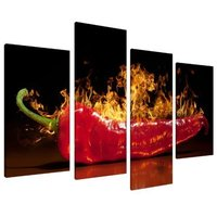 Kitchen Wall Art Decor Canvas Red Black Chilli 4 Set HD Printed on Canvas For Home Decor Drop shipping