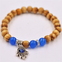 1pc Red Wood 8mm Beads Silver Hamsa Hand Yoga Mala Bracelets