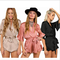2017 sexy rompers womens summer jumpsuit High Waist Gorgeous multi straps V tie falbala Playsuit Shorts jumpsuits