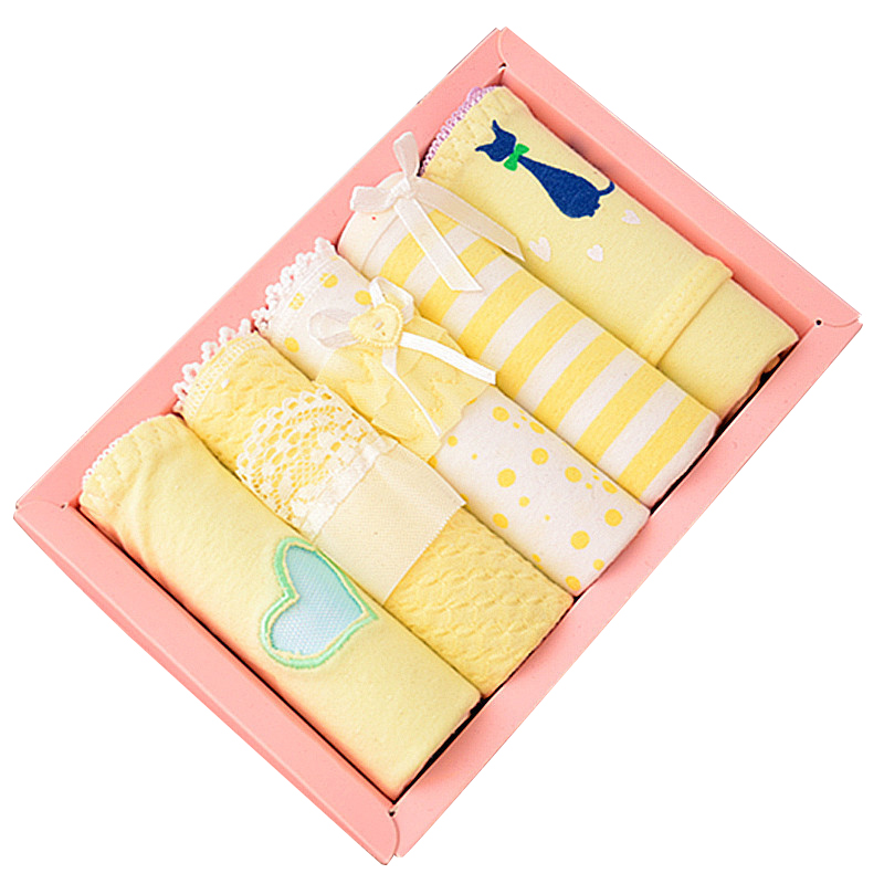 USKINCARE 5 Pieces/lot Women Cotton Panties Brief Soft Breathable Underwear Briefs Yellow Girls Underwear Panties Women 5-3062