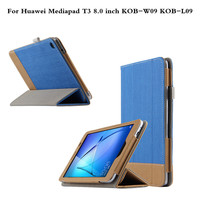 Fashion Business Folio Stand Patchwork PU Leather Book Case Cover For Huawei MediaPad T3 8 0