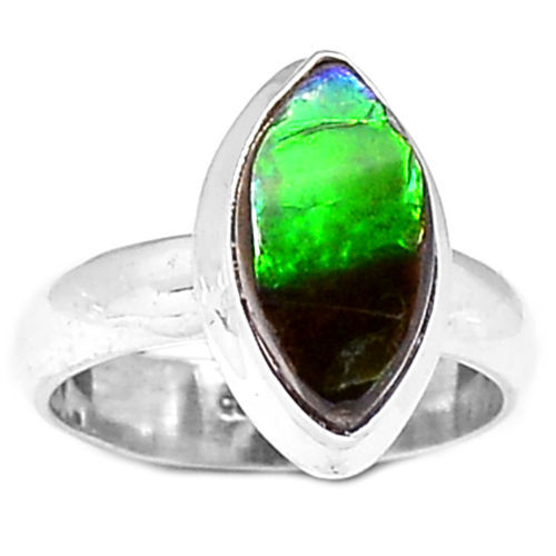 Hand Made Ammolite Ring 100% 925 Sterling Silver,  Size:6.75,  KR0059