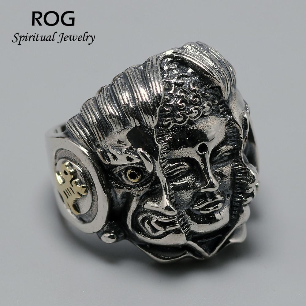Genuine 925 Sterling Silver Jewelry Heavy Mens Buddha Rings With Devil Blink Of The Heart Vintage Punk Rock Men Jewelry