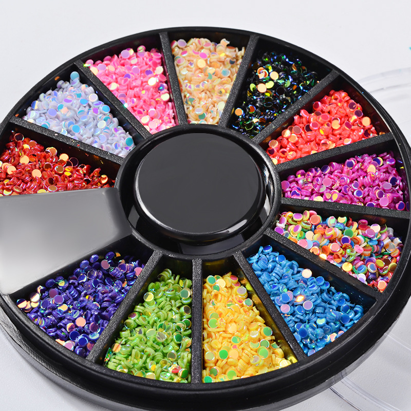 1 Box 2mm Mixed Color DIY 3D Nail Art Decorations Colorful Round Laser Nail Sequins Wheel Manicure Strass Nail Art Accessories in Rhinestones Decorations from Beauty Health