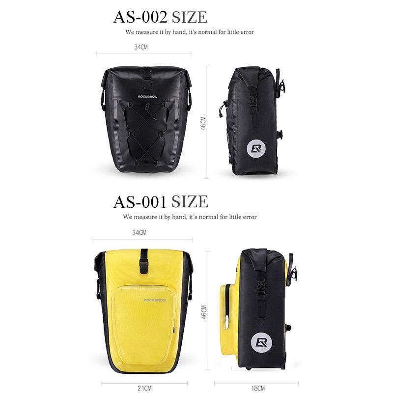 ROCKBROS 27L Bicycle Bags Waterproof Foldable Cycling MTB Bike Bags Reflective Panniers Long Travel Luggage Bag Bike Accessories