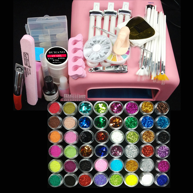 Burano 36w uv pink lamp manicure set Nail Art UV Gel Kits sets Tools Brush Tips Glue Acrylic Powder Set #004