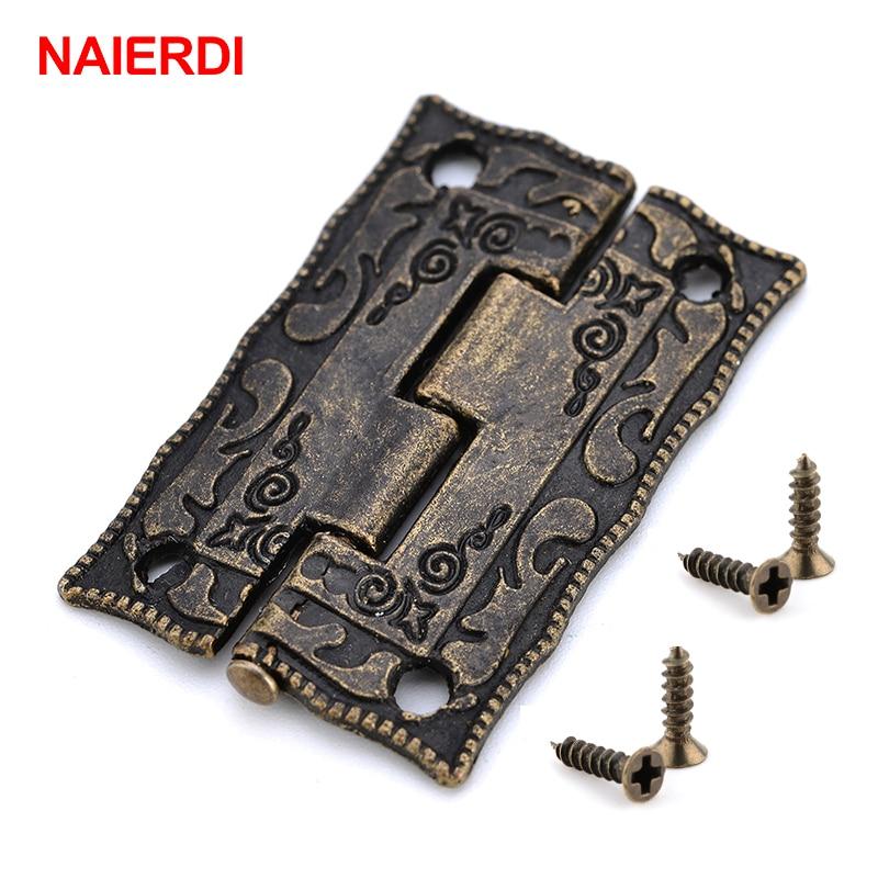 10PCS NAIERDI Antique Bronze Hinges Cabinet Door Drawer Decorative Mini Hinge For Jewelry Storage Wooden Box Furniture Hardware