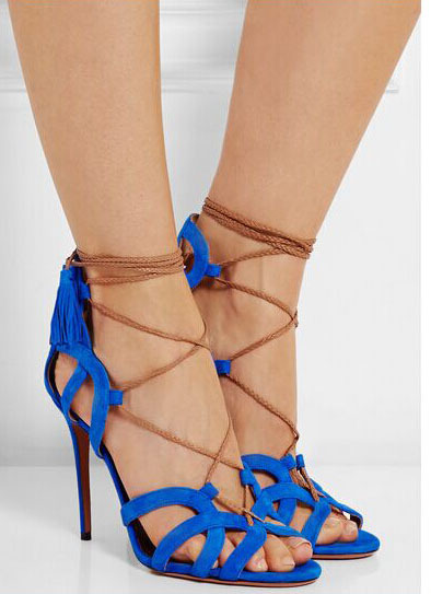 ФОТО Fashion Casual sandals cut-out lace-up cross-tie peep toe high thin heel side fringe decorated red blue black sandals for woman