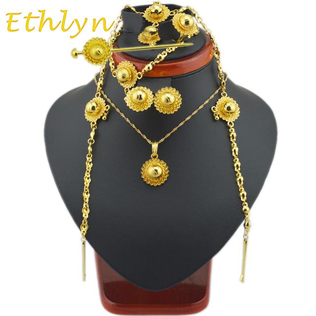 Ethlyn lindo tamaño Etíope con sistemas de la joyería del pelo piezas de oro clásico 24 k plateó sistemas de la joyería de la Etíope mujeres