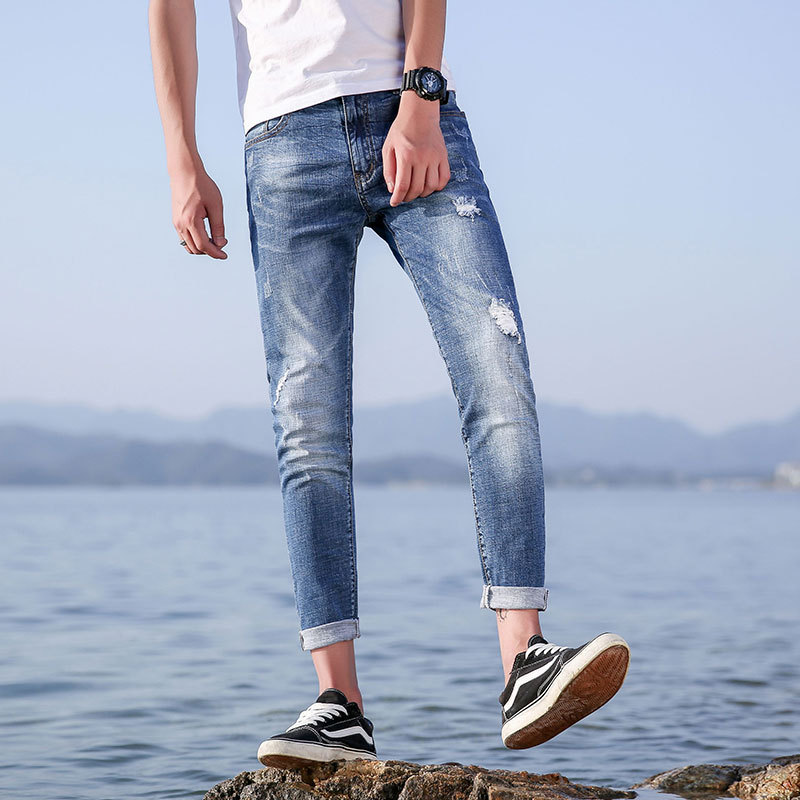 Hot new summer products mens jeans nine points pants stretch 9 points trousers mens pants and pants 941