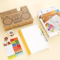 Kinbor Happy Study Creative Kids Stationery Gifts Set Notebook/PVC Cover/Sticker/Washi Tape/Kraft Box Packing School Supplies