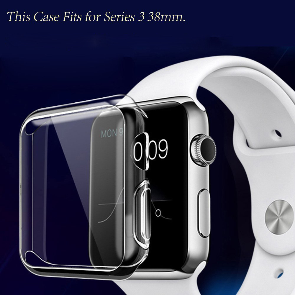for Apple watch 3/2/1 screen protector tpu all-around protective case clear ultra-thin cover for apple watch 42mm 38mm iwatch series 1 2 3 soft silicone case for apple watch cover 38mm 42mm fashion plated tpu protective cover for iwatch