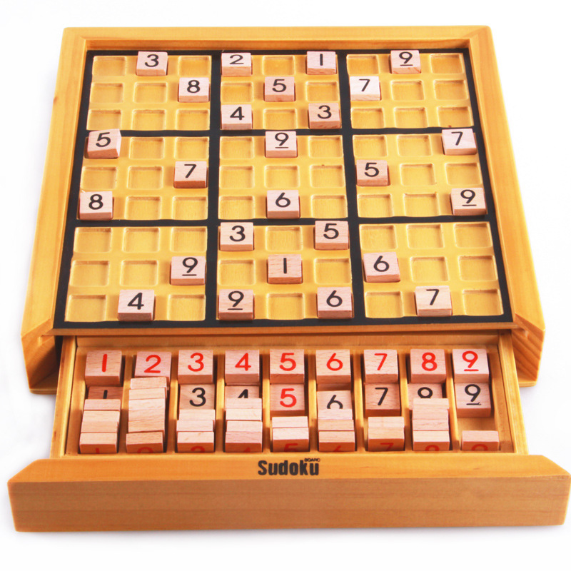 BOHS Wooden Sudoku Board Game- with Book of 100 Sudoku Puzzles - Math Brain Teaser Desktop Toys