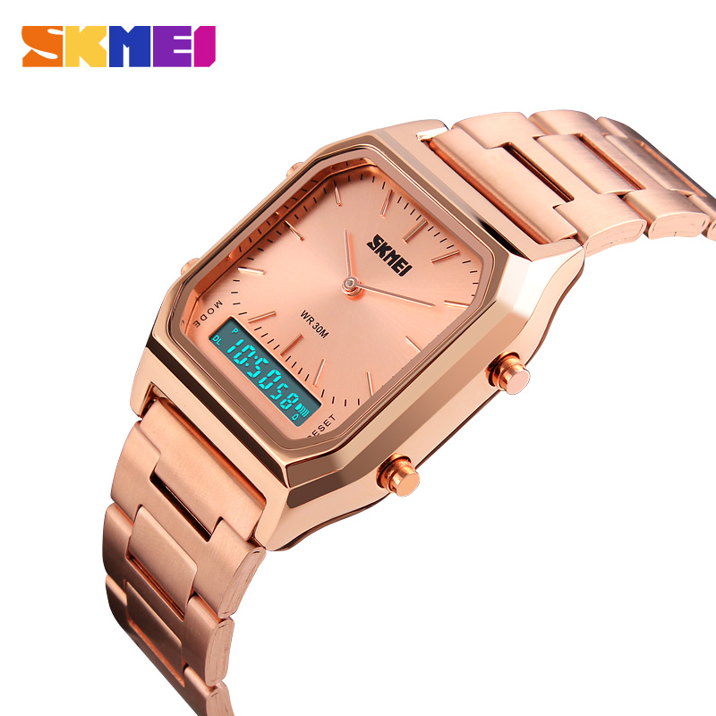 SKMEI Men Fashion Casual Quartz Wristwatches Digital Dual Time Sport Watches Chronograph Back Light 30M Waterproof Watches Mens