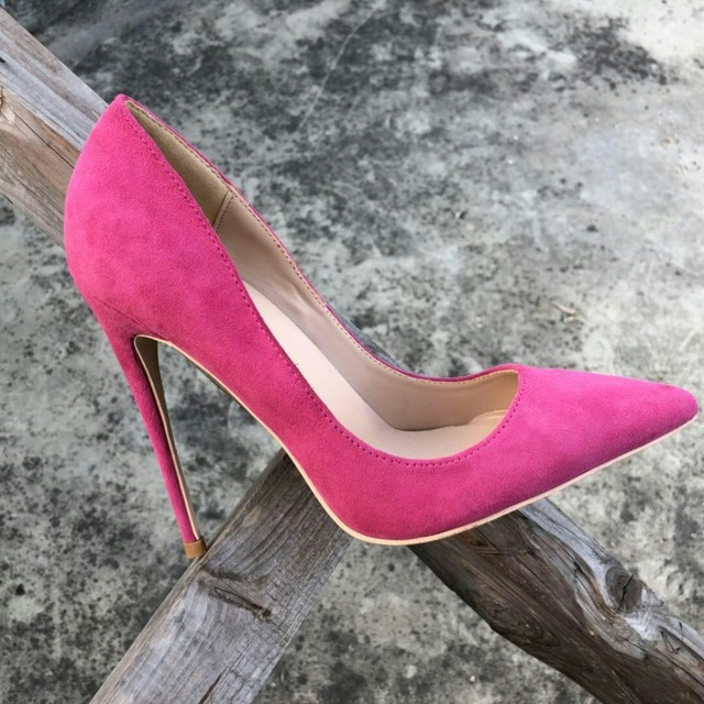 Keshangjia Top Quality Woman Hot Pink High Heel Slip-on Wedding Shoes Pointed Toe Evening Party stilettos Heel Pump 1