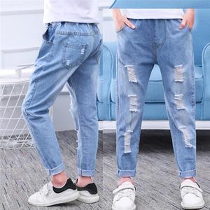 Повседневные джинсы для мальчиков, модные детские джинсы, свободные длинные штаны с дырками, одежда для детей 6, 8, 10, 12 лет, Vestidos