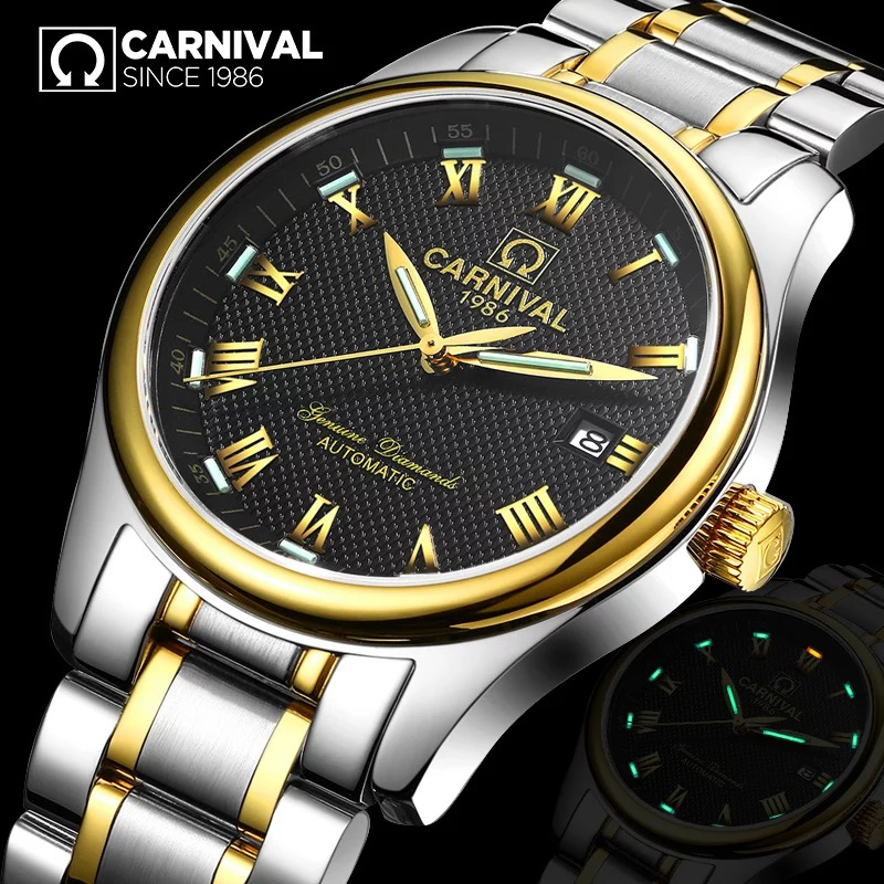 Most Fashionable Tritium luminous watch Top brand CARNIVAL Automatic Watch Men Complete calendar waterproof mechanical watches yelang v1015 upgrade version khaki number tritium gas green luminous men automatic mechanical business watch leather watchband
