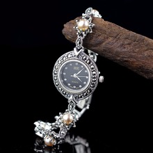 New Arrival Limited Edition S925 Pure Silver Watch Natural Pearls Lady Thai Silv