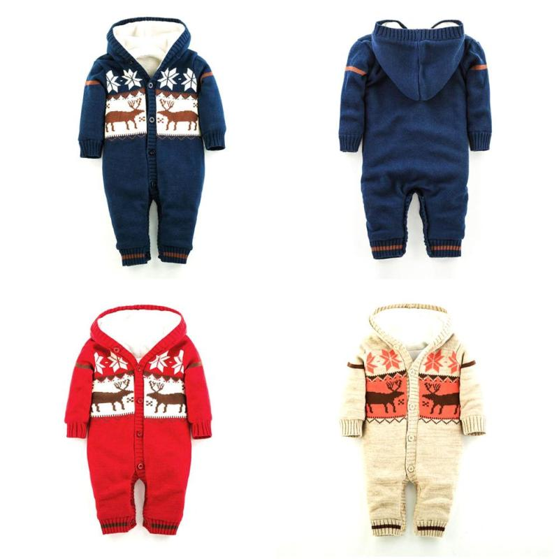 Baby Rompers Winter Thick Climbing Clothes Newborn Boys Girls Warm Romper Knitted Sweater Christmas Deer Hooded Outwear XV2 iyeal winter baby rompers thick baby clothes newborn boys girls warm romper knitted sweater christmas deer hooded outwear