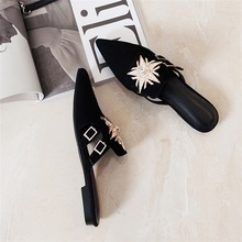 Women's Slippers Summer Fashion Women's Sandals High Quality Material Pointed Beautifully Decorated Flat Female Slippers bow decorated flat sandals with crystal