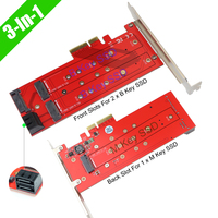 3 In 1 PCIe 3.0 x4 to 1 PCIe Based NVMe AHCI M Key and 2 SATA Based B Key SSD Adapter Card PCI Express Storage Expansion Card
