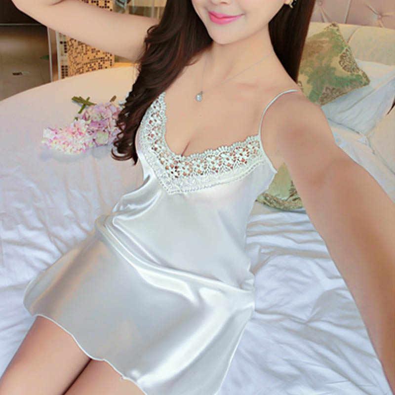 Сексуальное Ночное платье для женщин Глубокий V кружевная одежда для сна, женское белье шелковая ночная рубашка без рукавов Ночная одежда летняя Домашняя одежда # D