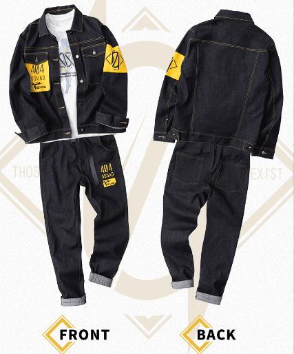 Moeyu Game Girls' Frontline 404 Squad UMP45 Denim Suit Long Sleeves Jeans Men's T-shirt Anime Clothing