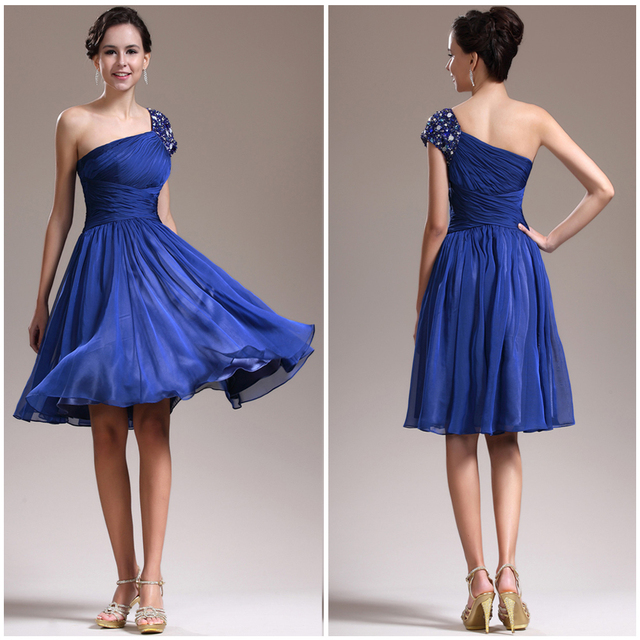 Whoesale One Shoulder With Beade Strap A Line Knee Length Royal Blue