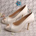 Wedopus MW466 Women Shoes Ivory Peep Toe Wedding Bridal Party Heels Platform
