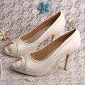 Wedopus MW466 Women Shoes Ivory Peep Toe Wedding Bridal Party Heels Platform