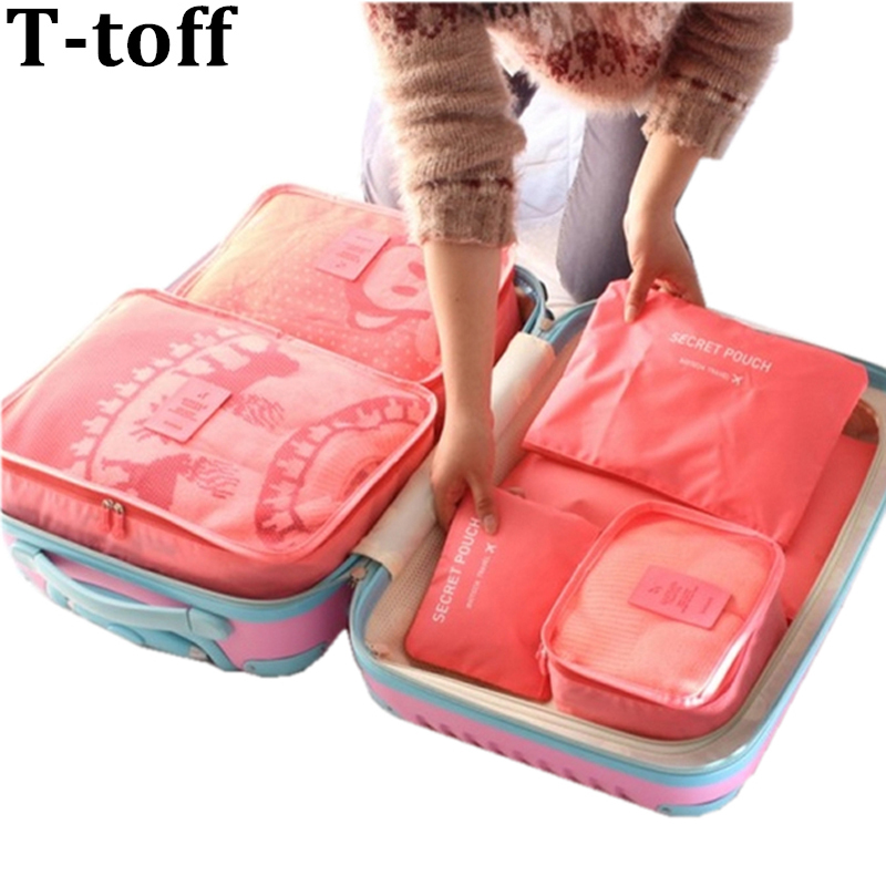 Nylon Packing Cube Travel Bag System Holdbar 6 stykker One Set Stor Kapacitet Unisex Beklædning Sortering Organiser Taske