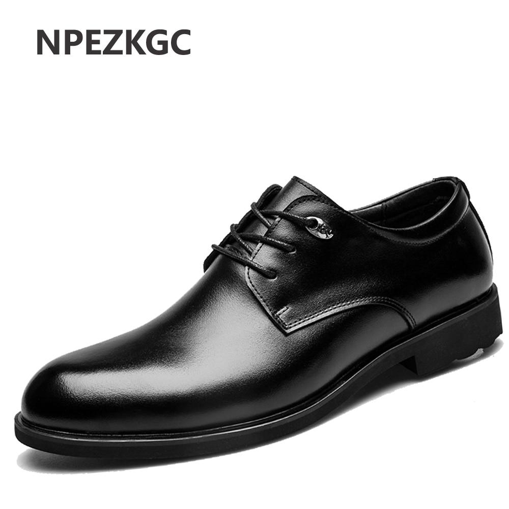 NPEZKGC Fashion Men Shoes Genuine Leather Men Dress Shoes Brand Luxury Men s Business Casual Classic