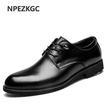 NPEZKGC Fashion Männer Schuhe Echtes Leder Männer Kleid Schuhe Marke Luxus herren Business Casual Classic Gentleman Schuhe Mann