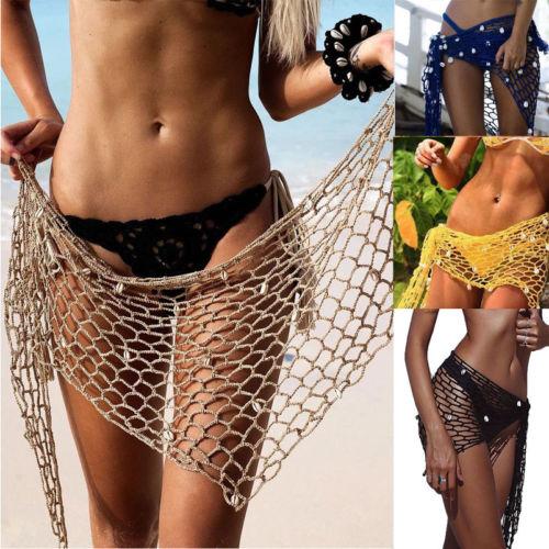 Hot Women Crochet Fishnet Bikini Cover Ups With Shell Beachwear Scarf Sexy  Mesh Swimwear