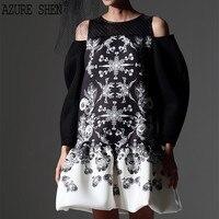 [AZURE,] Новое лето 2018 Мода o образным вырезом заказ оригинальный бренд Дизайн с принтом оборками подол свободные платье женские AZ1