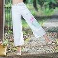 Women Lotus Printed Summer Cool Wide Leg Pants Loose White Slacks Ladies Causal Trousers Woman Trou pantalon femme