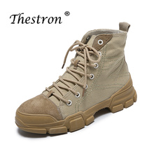 Thestron New Arrival Designer Shoes Women Luxury 2019 Working Brown Army Green Beige Slip Resistant Boots Skate