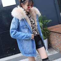 Denim jacket chaqueta mujer coat women winter 2018 plus size streetwear natural real fox fur coats with hooded short clothes