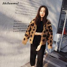 2017 New Top Selling Autumn Woman Sweater Tops Fashion Knitted Long Sleeve V-Neck Solid Loose Size Casual Cardigan