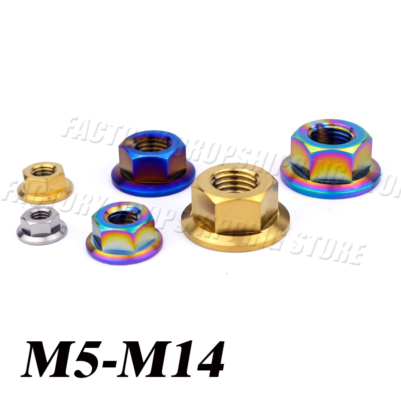 Ti M5 M6 M8 M10 M12 M14 Flange Nut Screws Bolts for Motorcycle Bicycle Bike  Titanium Nuts 1pcs