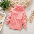 2017 Nuevo Otoño/Invierno de Los Niños Niños Suéter de Cuello Alto Bebé Niño/Niña Suéter Ropa Vestidos