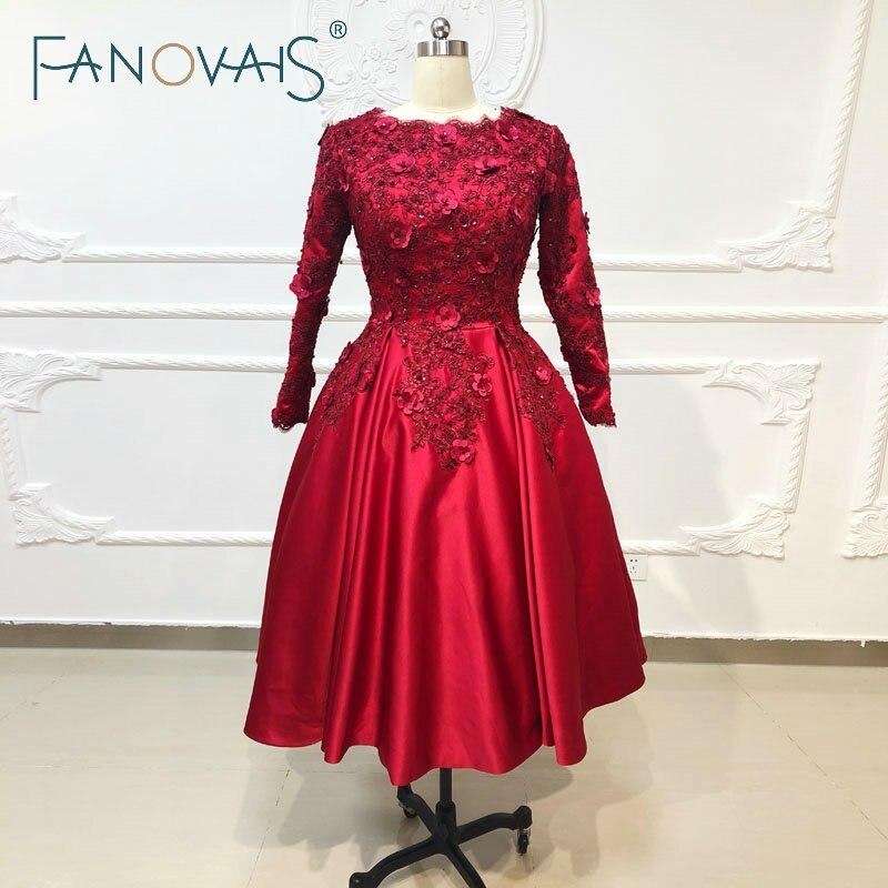 Bordeaux luxe robes De bal manches longues courtes robes De soirée 2019 Vestido De Fiesta Robe De soirée rouge Robe De bal