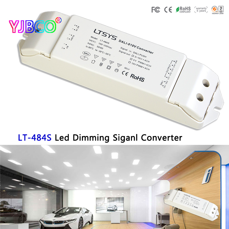 LT-484S led Dimming signal converter;DALI PUSH DIM signal input;5V PWM x4CH/10V PWM x4CH output for led lamp LTECH new dali dimmer led pwm dimming driver rgbw controller 5 24v 4channel 5a current output lt 454 5a dali led driver free shipping
