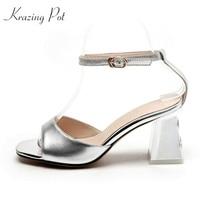 Krazing Pot Brand Shoes Cow Leather Metal Diamond High Heels Women Sandals Shallow Wholesale Modern Girl