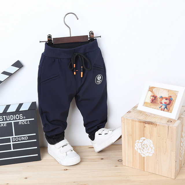 0-4Years Autumn&Winter Baby Boy Pants Children Casual Thick Boys Pants for Kids Cotton Warm Fleece Children's Trousers Harem2016