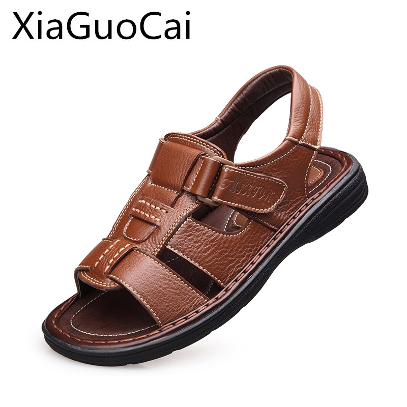 Genuine Leather Summer Mens Sandals Leather Male Sandals High Quality Outdoor Leisure Beach Antiskid Footwear for Man Shoes