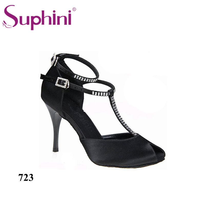 Suphini Top Selling Black Dance Shoe, Classic Lady Salsa Shoes, Woman Tango Latin Shoes,Free Shipping 724 tango zarina black ct10 176 код2131